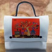 E' Primavera… / It's Springtime Una veduta naif di Firenze pervasa dai colori della primavera, realizzata con intarsio di frammenti di ecopelle colorata e di tessuti decorati. A naive view of Florence pervaded by the colors of spring, made with inlay of fragments of colored eco-leather and decorated fabrics. Intarsio di eco pelli colorate  Inlay of colored eco-leather by DanCalaMan  #Florence #florenceitaly #uniquepieces #inlay #marquetry #design #creations #composition #styles #classy #musthave #masterpiece #clubsocial #springtime #bags #glam #fashion #womanstyle #pfw #instafashion #outfit #purse